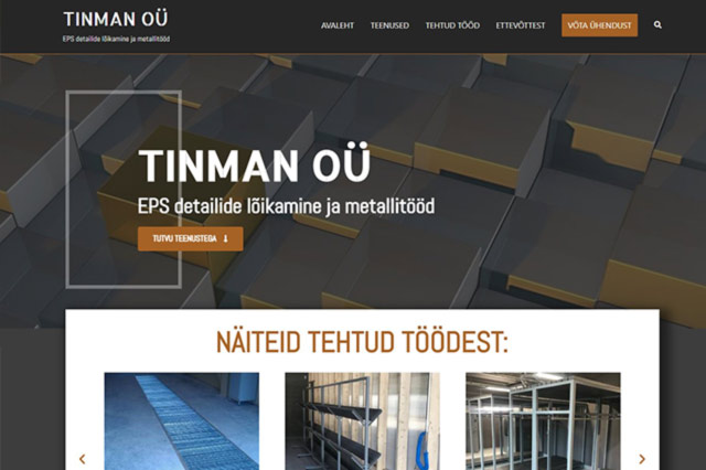 Tehtud töö - Tinman OÜ veebisait